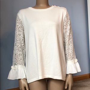 Karl Lagerfeld Lace Bell Sleeved White Sweater